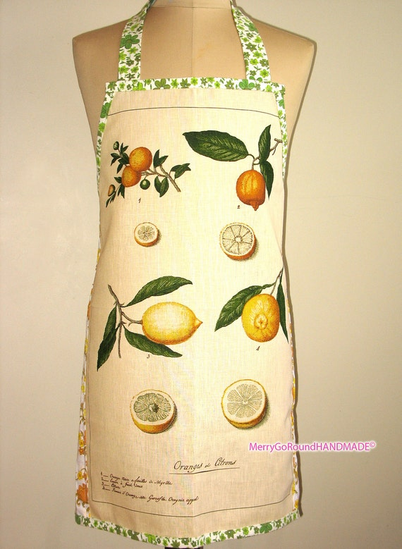 Metro Retro Tea Towel Linen / Cotton 'Citrus Lemons' Kitchen Apron - OOAK, upcycled