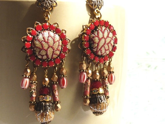 Dark red coral chandelier earrings