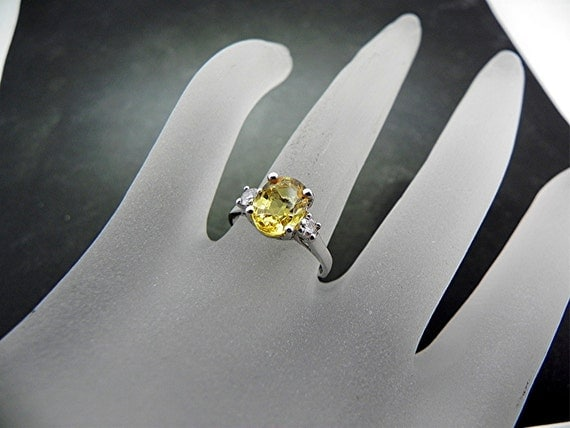 SPECIAL OFFER  Stunning 9x7mm 2.74 ct Fine Natural yellow Sapphire set in a 14K white gold diamond ring (.20cts)