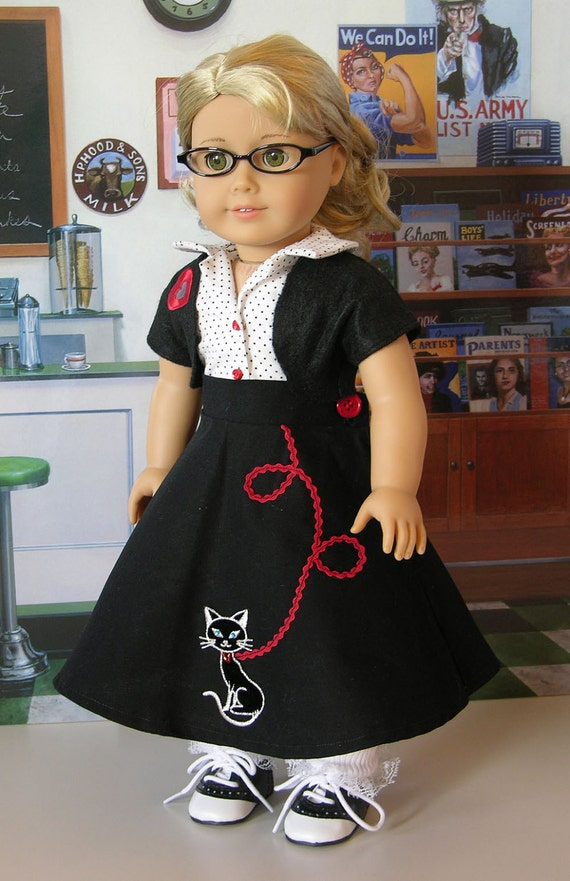 Sock Hop Kitty Swing Skirt for American Girl with saddle shoes