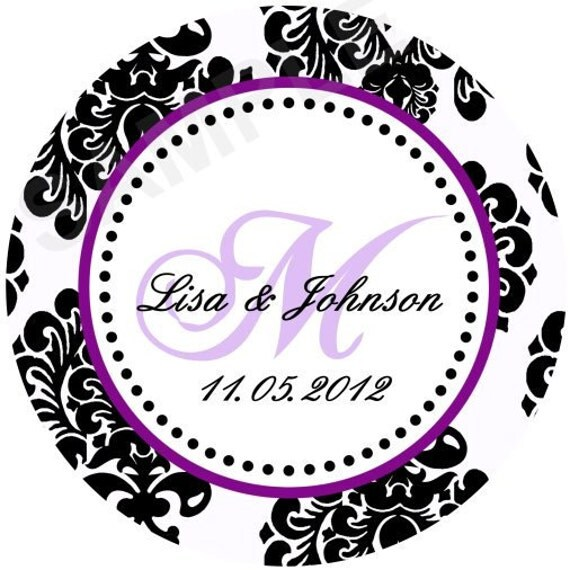 Beautiful Signature Damask Personalized Stickers Wedding Favor Stickers