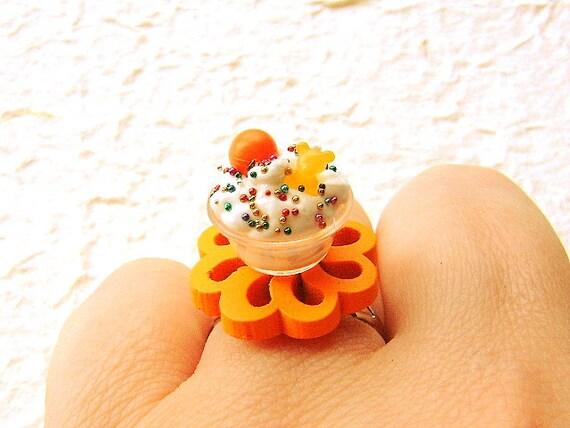 Kawaii Food Ring Ice Cream Orange Candy