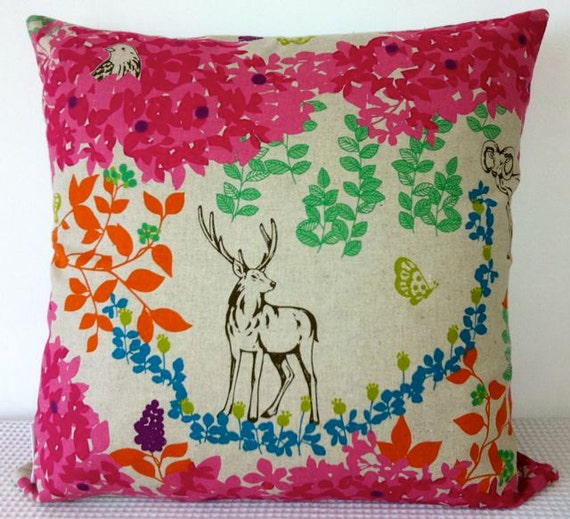 Japanese colorful cushion cover with butterfly and deer forest motif, throw pillow, decorative cushion