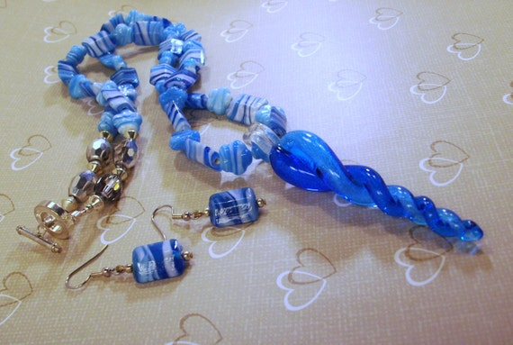 Twisted Aqua Blue  Necklace /Pendant Earrings