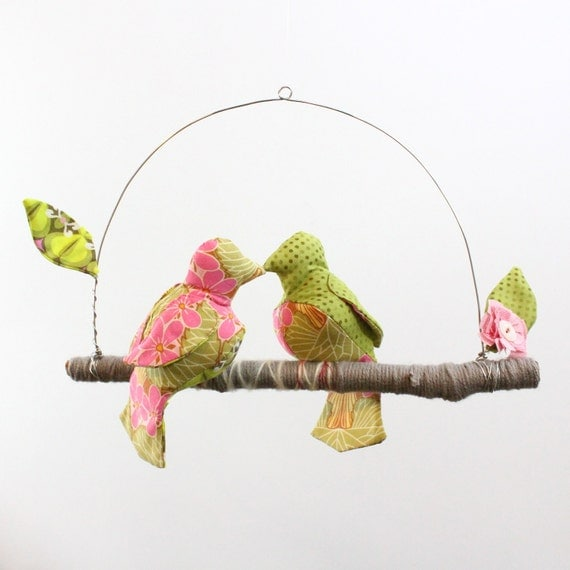 "Modern Love Bird Mobile - ""2 little lovebirds sitting in a tree K-I-S-S-I-N-G""  in blush pink, lime green, gray"