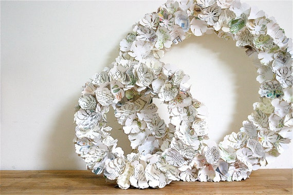 wreath / home decor / upcycled storybooks