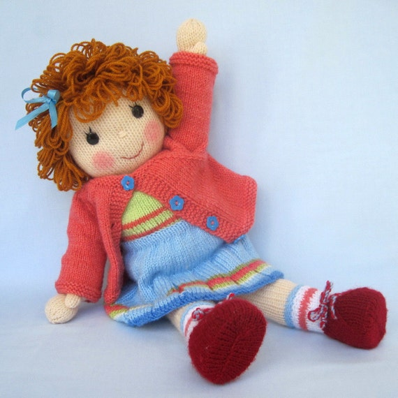 BELINDA JANE - knitted toy doll - PDF email knitting pattern - ePattern