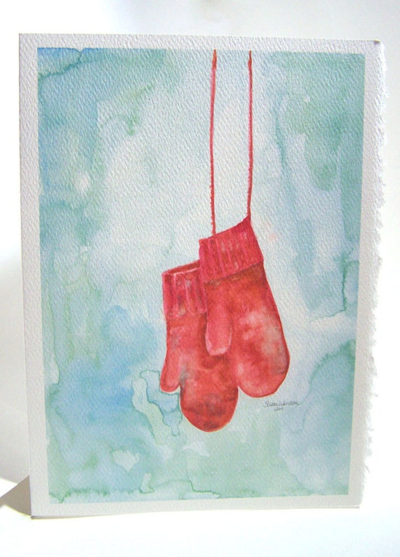 Red Mittens Watercolor Christmas Card - 5x7 (Set of 10)