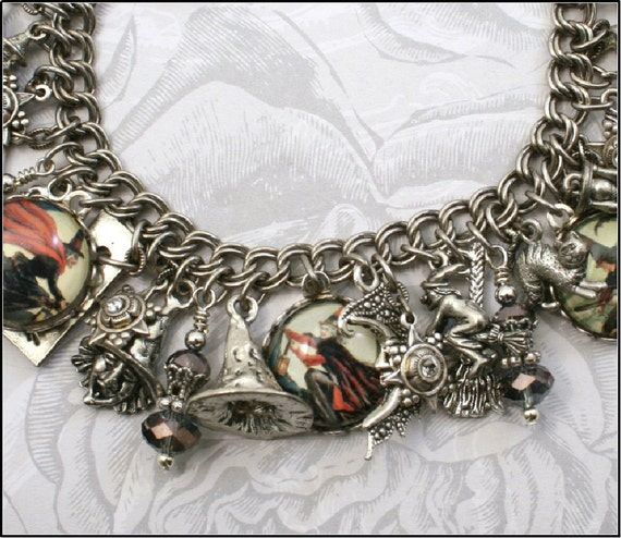 The Black Cauldron, Witches, Halloween, Vintage Inspired Charm Bracelet