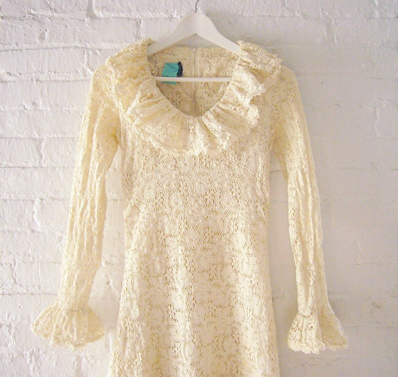 Crochet Mini Dress Wedding Dress Joy Stevens Cotton Boho Shabby Chic Mod