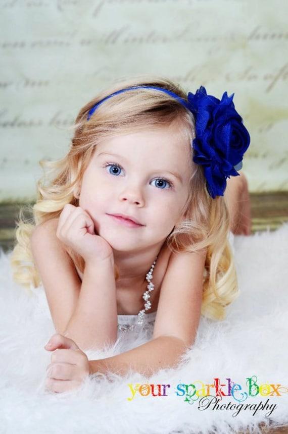 Royal / Свет синий цветок Повязка - Свет синий Jumbo шифон Роуз синий головная повязка или зажим для волос - Эмма - Vintage Insp.