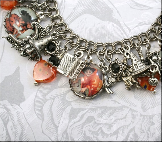 Witchy Boo, Witch, Halloween, Vintage Inspired Charm Bracelet