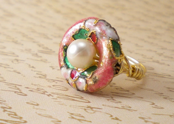 Pink Asian Gold Wire Wrap Ring