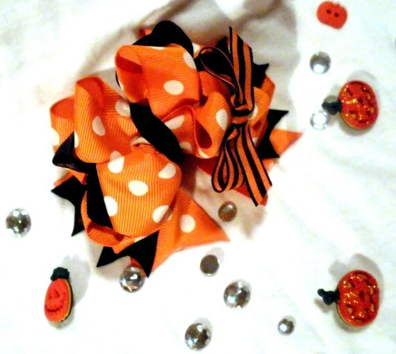 Girls Boutique Layered Hair Bow - Halloween Boutique Bow