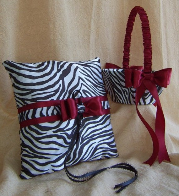 Zebra Print Wedding Accessories Zebra and Burgundy Flower Girl Basket and