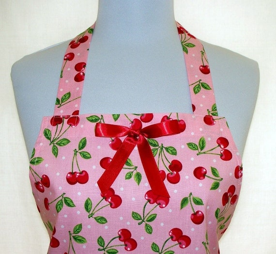 Apron Cherries on Pink with White Dots, Red Ribbon Trim and Ruffled Flounce, Cute Girly Hostess Kitchen Gift