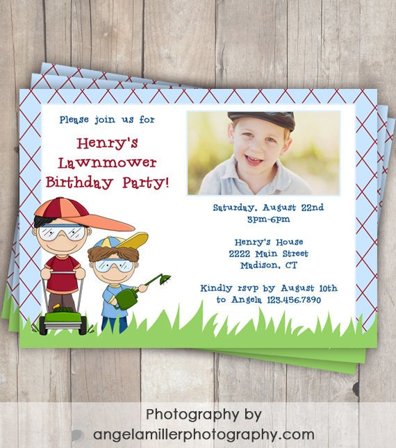 Lawnmower Birthday Photo Invitation