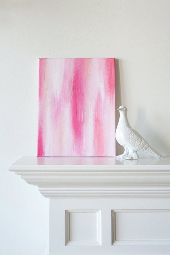 11x14 Canvas Painting- Ikat: Pink