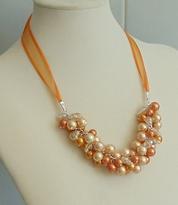 Coral, Peach and Orange Cluster Pearl Bridal Necklace, Handcrafted (Custom Bridal Order)