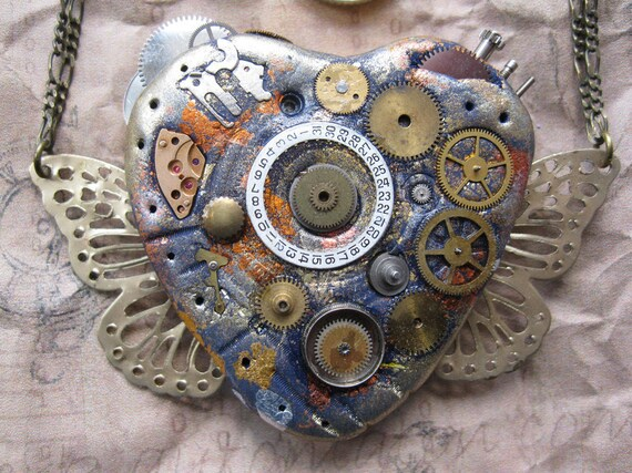 Steampunk Heart and Butterfly wings Necklace ooak reversible