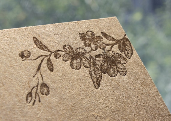 "Kraft Note Cards - Letterpress ""Flower Branch"" - Set of 12"