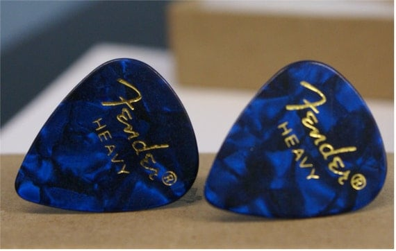 Blue Fender Guitar Pick Cufflinks