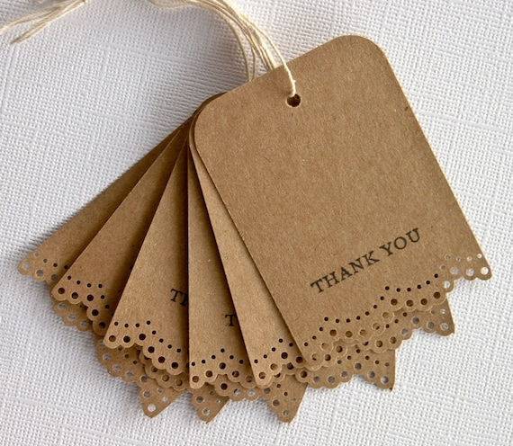 Wedding Favor Gift Tags with Lace Trim Thank You