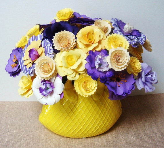 Purple and Yellow Paper flower Arrangement in Ceramic Yellow Purse
