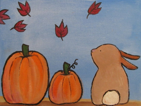 Autumn Painting, Pumpkins and Rabbit Nursery Decor 12 x 9