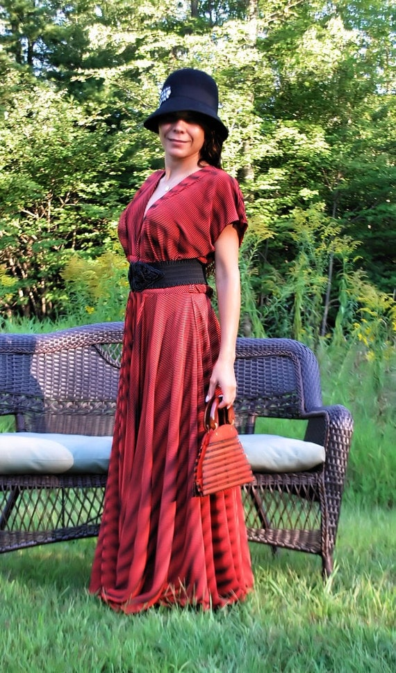 CORINA, gorgeous 30's style dress with v neck, tons of plice fabric, 2 tone effect, gorgeous by SashCouture