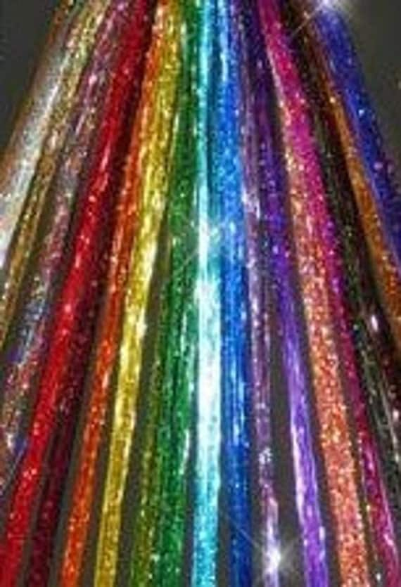 "20 ea, 40"" CHOOSE your COLOR(S) of  Hair Tinsel - Mix or Match - like Bling String and Hair Flairs - 40 inches LONG -Super Fast Shipping"