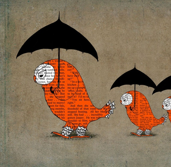 Orange owls black umbrellas  Giclee Art Print Limited edition 13''x19'' ( 33sm. x 50sm.)by Juri Romanov-OrangeOptimist