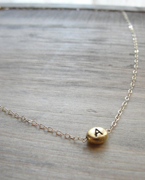 Gold necklace with initial charm - any letter - handmade gold jewelry