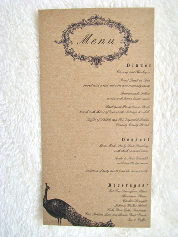 """Vintage Peacock Wedding and Event Menu - 4""""x8"""" customizable from anna.michelle Cards"""