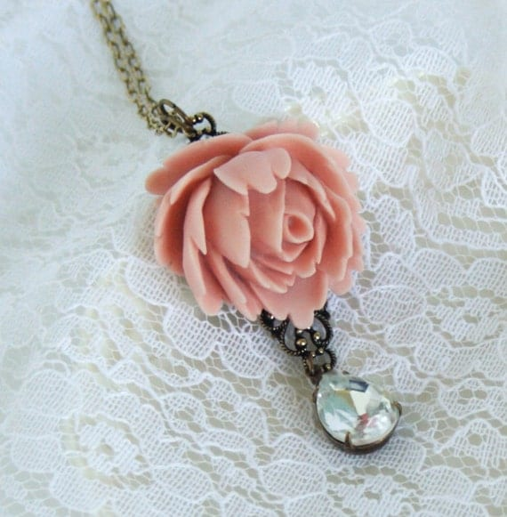 Flower Necklace - Peach Rose With a Beautiful Clear Vintage Crystal Jewel