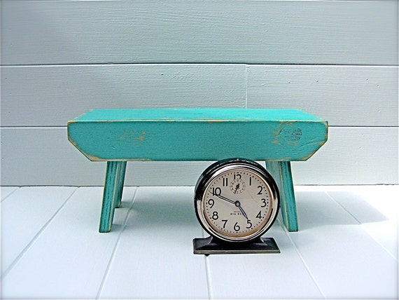 Vintage Style Step Stool No. 1 in Aqua Handmade by Circle Creek Home