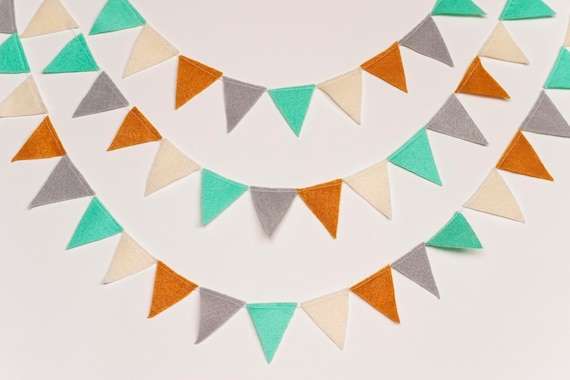 Mini Felt Bunting Garland (aqua, pumpkin, gray, cream)