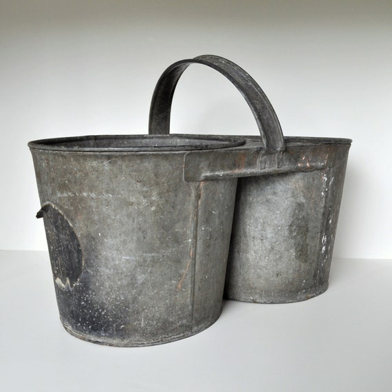 Galvanized Vintage Double Bucket with Handle