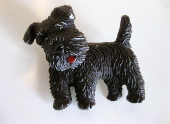 Vintage Celluloid Scottie Dog Pin Moveable Czechoslovakia