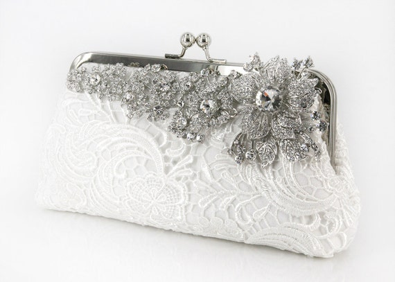 Ivory Bridal Lace Clutch with Rhinestone Lace Brooch 8-inch LHERITAGE