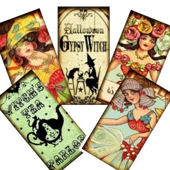 Vintage Gypsy Fortune Teller 1x2 Collage - tags glass tile domino jewelry supplies - U-print 300 dpi jpg