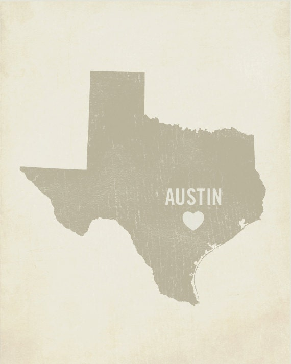 I Love Austin Texas - Wood Block Art Print