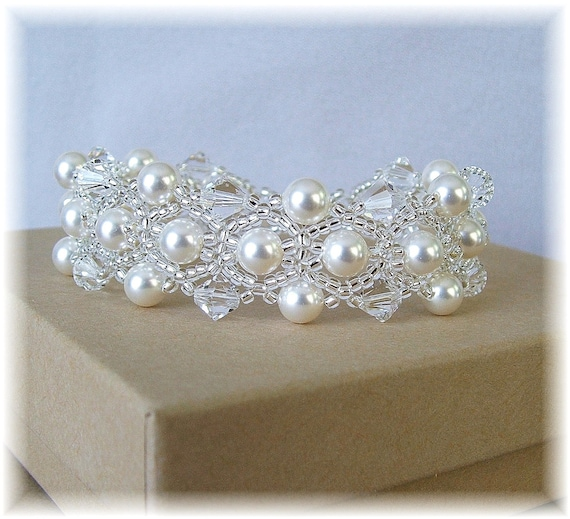 White Pearl and Crystal Wedding Bracelet Beaded by Handwired from etsy.com