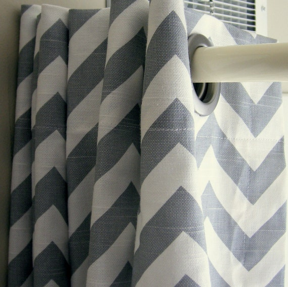 Shower  Curtain Zig Zag Standard Size Premier Prints Ash Gray and White  72x72