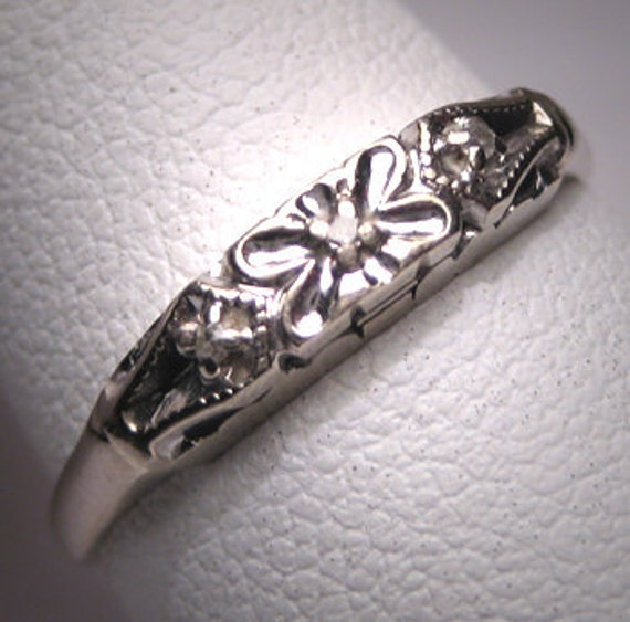 Antique Diamond Wedding Band Ring Vintage Art Deco WG