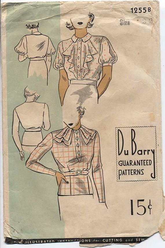 VINTAGE DU BARRY 1940s Blouse Sewing Pattern