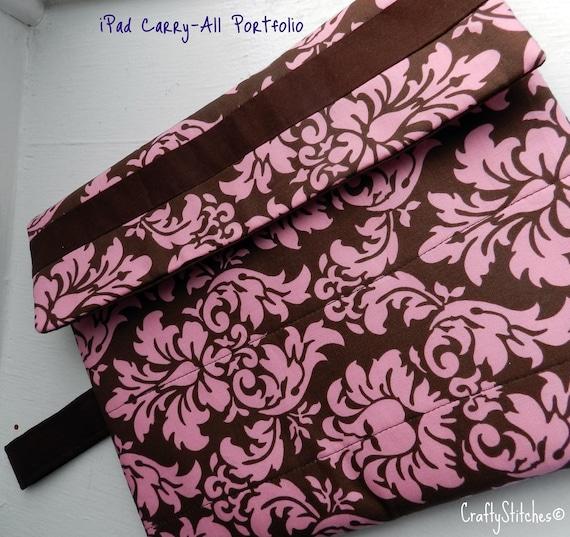 iPad Carry All Portfolio - Moca Pink Damask