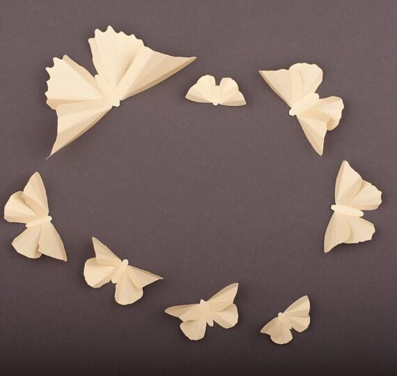 3D Wall Butterflies, 20 Gold Metallic Butterfly Silhouettes for Girls Room, Nursery, and Home Art Decor