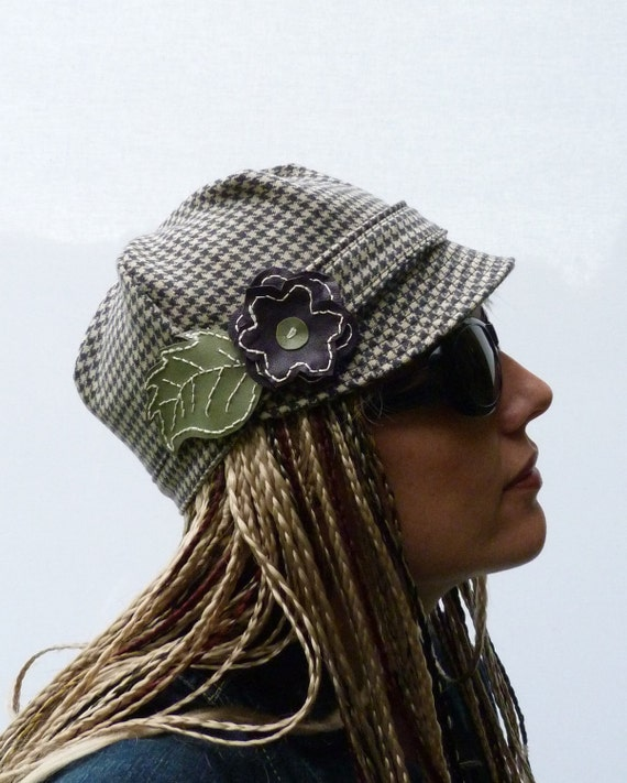 Womens Hat - Wool Tweed with Leather Flower