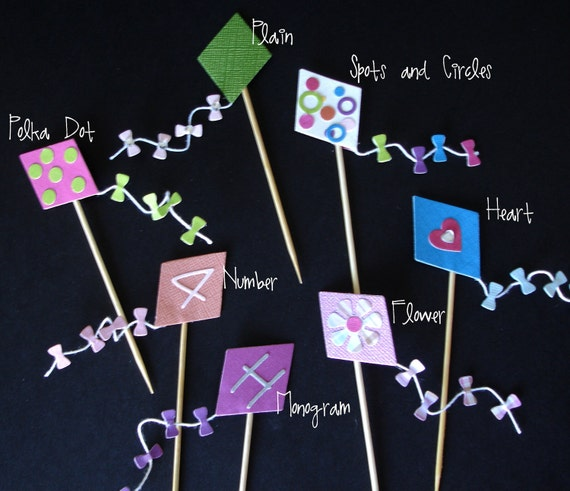 12 Lets Go Fly a Kite Cupcake Toppers.... party, birthday, girl, boy, rainbow, polka dot, monogram, heart, flower